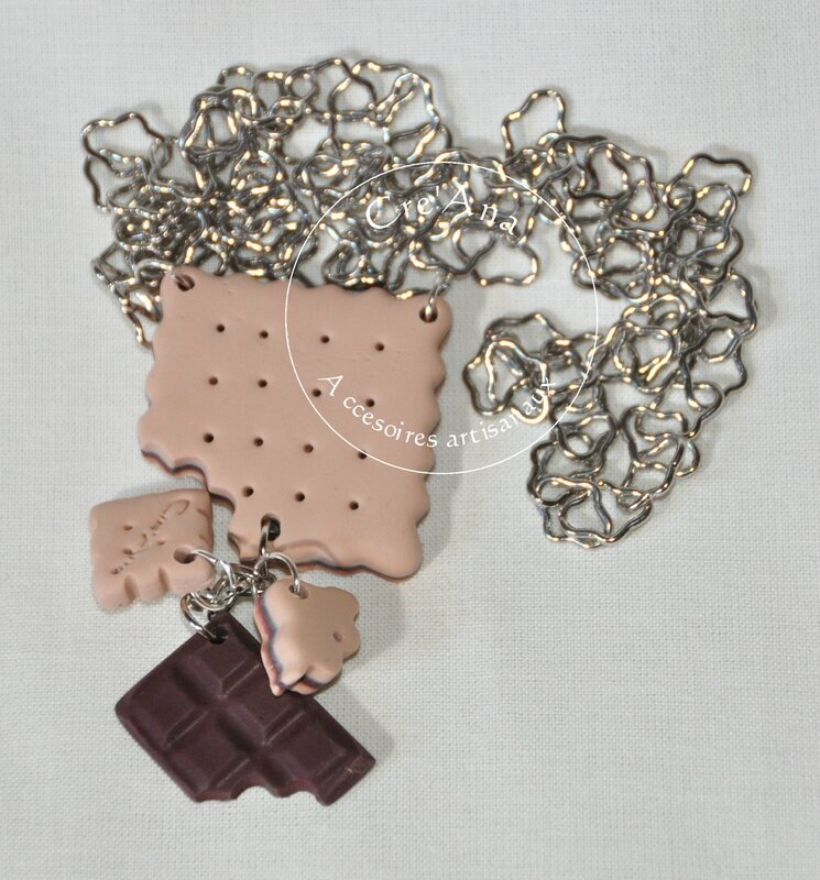 Collier sautoir chainette biscuit