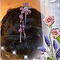Pique à cheveux fleur mauve