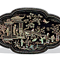 A large mother-of-pearl inlaid black lacquer quatrefoil tray, ming dynasty, 16th century