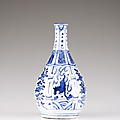 A kraak blue and white bottle vase, ming dynasty, wanli period (1572-1620)