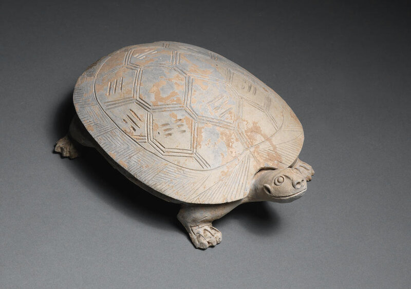 A tortoise-shaped pottery ink-stone and cover, Han Dynasty