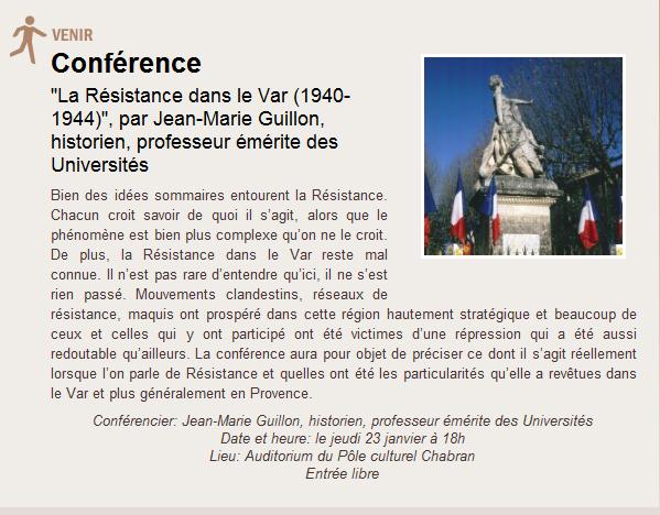 """Conférence : """"La Résistance dans le Var (1940-1944)"""""""