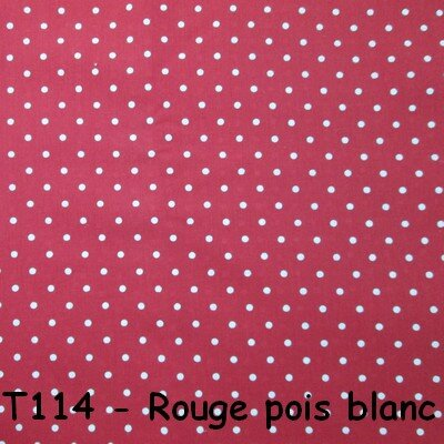 T114 rouge pois blanc