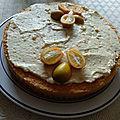 Génoise à la mousse de marrons et à la crème de pommes et kumquats