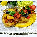 Côte de porc mariné à la sauce teriyaki + pesto rosso / huile d'olive avec des légumes du soleil