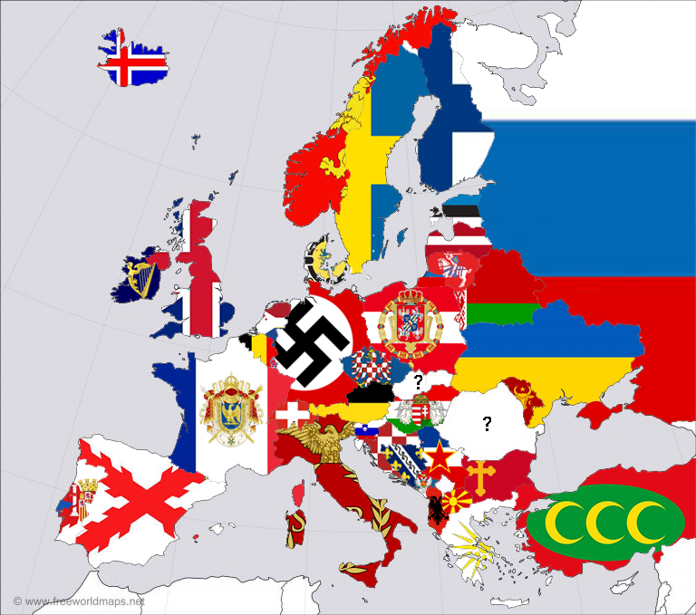 Europe countries with the flag of their greatest extent