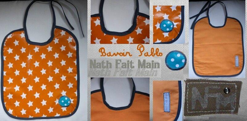 Bavoir orange étoiles Pablo (0)