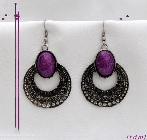 Boucles d'Oreilles Style Tibétain Bolèro Perle Strass Violet Argent du Tibet