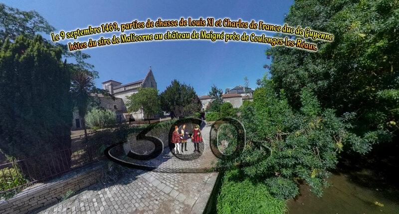 Le 9 septembre 1469, parties de chasse de Louis XI et Charles de France duc de Guyenne hôtes du sire de Malicorne au château de Maigné près de Coulonges-les-Réaux