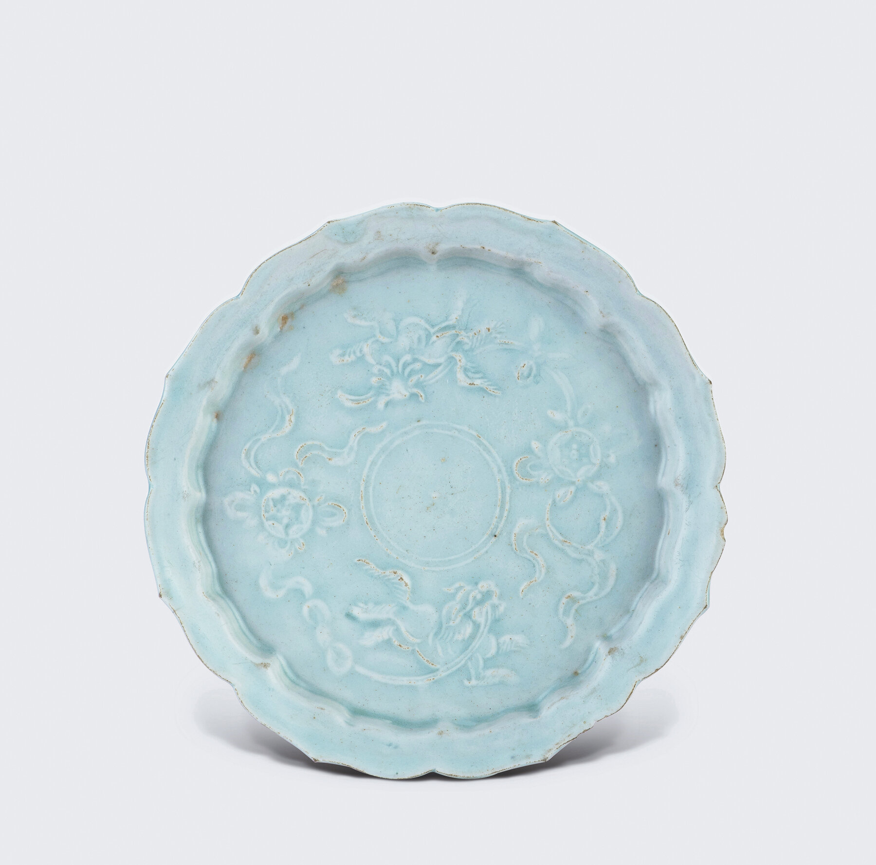 A finely moulded Qingbai dish, Yuan dynasty (1271-1368)