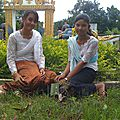 Leakhena and Pisey at Pagoda