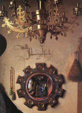 Eyck, 1434, Les époux Arnolfini, détail