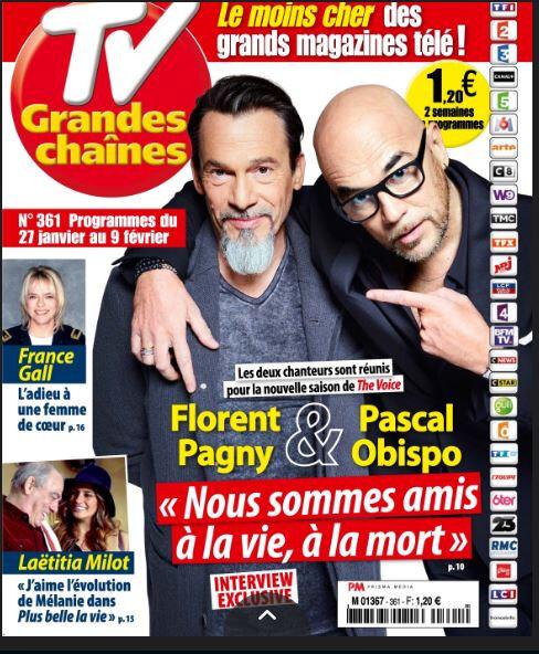 Pascal Obispo dans le magazine TV Grandes Chaines du 27 janvier