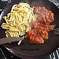 Pâtes compote de rhubarbe et poivrons