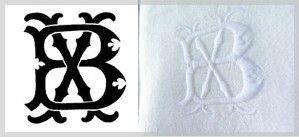initiales XB brodées sur serviettes damassées