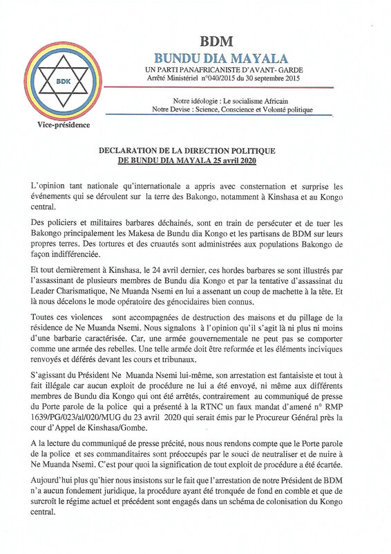 DECLARATION DE LA DIRECTION POLITIQUE DE BUNDU DIA MAYALA 25 AVRIL 2020 a