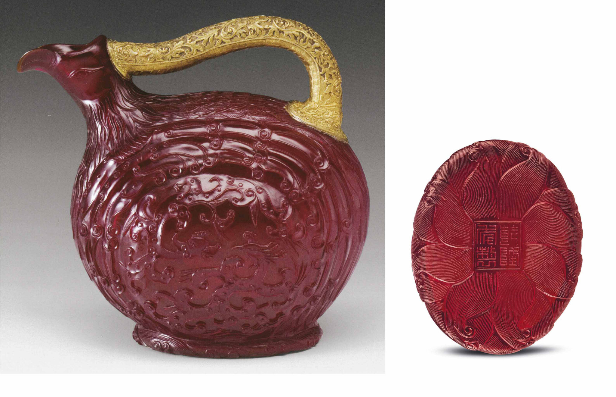 A very rare Imperial moulded and carved ruby-red glass bird-form ewer. Qianlong four-character sealmark within a double square and of the period (1736-1795)