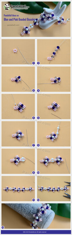 2-PandaHall-Ideas-on-Blue-and-Pink-Beaded-Bracelet