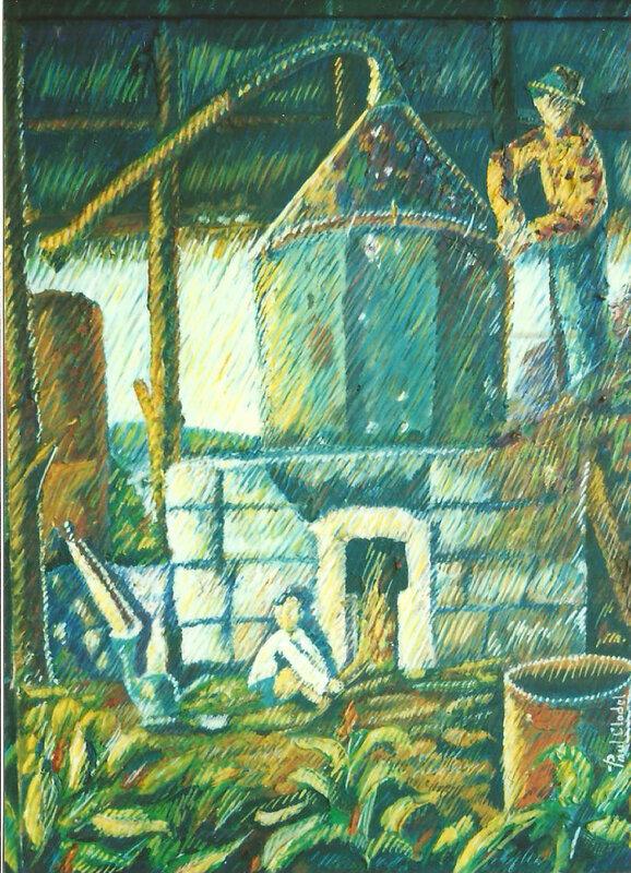 227 - L'enfant au fourneau -huile-toile-traitïste- 08 P-1998 de Paul Clodel
