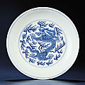 A blue and white 'dragon' dish, qianlong six-character sealmark and of the period (1736-1795)