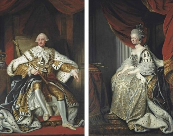 Portrait of King George III (1738-1820), full-length, in robes of state, in an interior; and portrait of Queen Charlotte (1744-1818), full-length, in coronation robes, in an interior