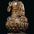 A gilt-lacquered bronze figure of buddha, ming dynasty, 16th century