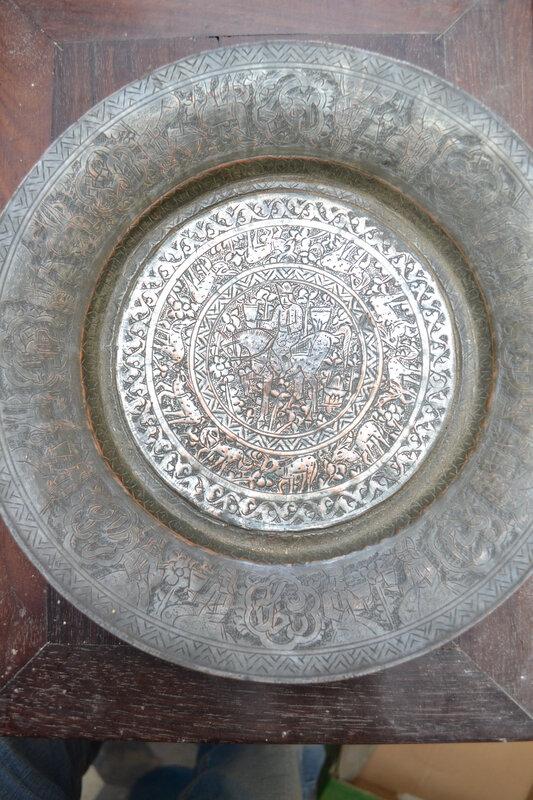 plateau cuivre art IRANIEN metalwork historique