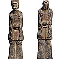 A large and rare pair of painted gray pottery figures, northern wei dynasty (386-534)