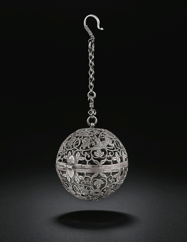 A rare silver spherical censer, Tang dynasty (618-907)