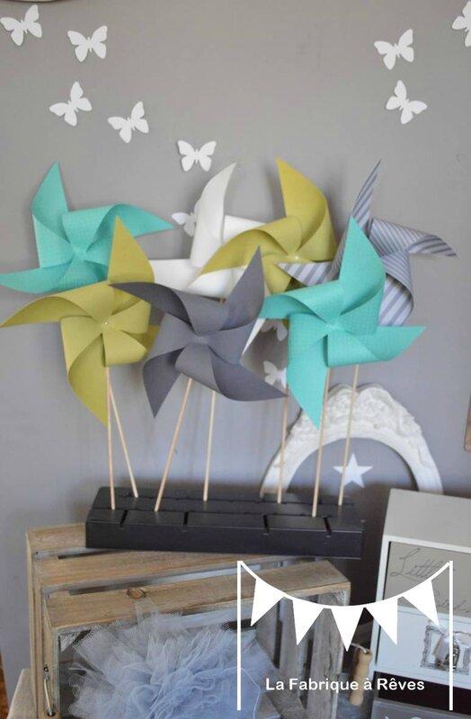 moulins à vent turquoise vert anis gris mariage photobooth bapteme baby shower décoration chambre enfant garçon bébé
