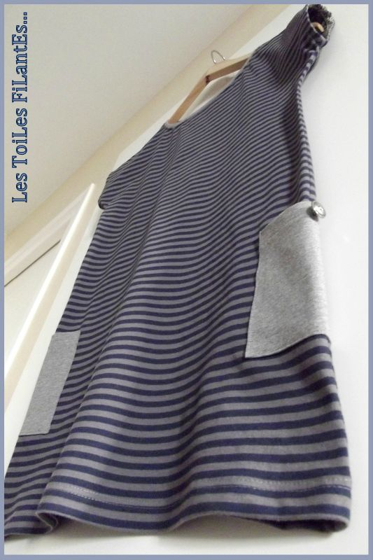 Robe plage jersey rayé bleu et taupe3