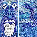 ATEK MAIL ART Blue Dream Boy stylo bille sur enveloppe 11x22cm 2017
