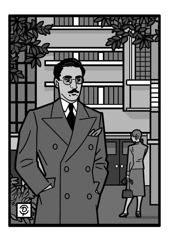 Delius dessinateur Fernando Pessoa portrait dessin monochrome