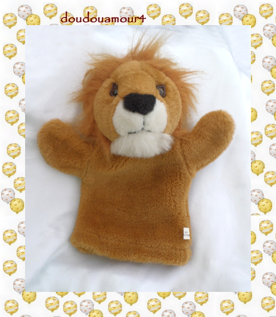 Doudou Peluche Marionnette Lion Marron Et Blanc CP International