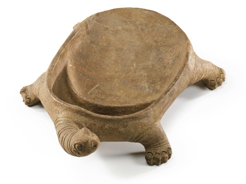A tortoise-shaped pottery ink stone, Han–Tang dynasty