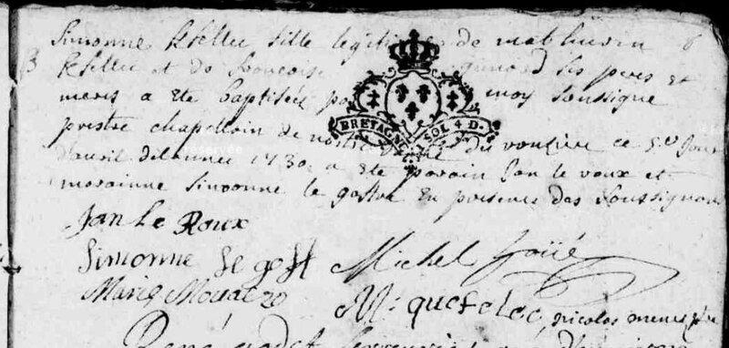 1730 le 5 avril naissance de Simone Kfelec ND du Roncier