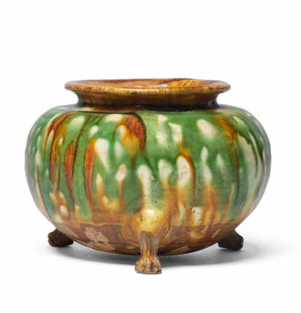 A sancai-glazed tripod incense burner, Tang Dynasty (618-907)