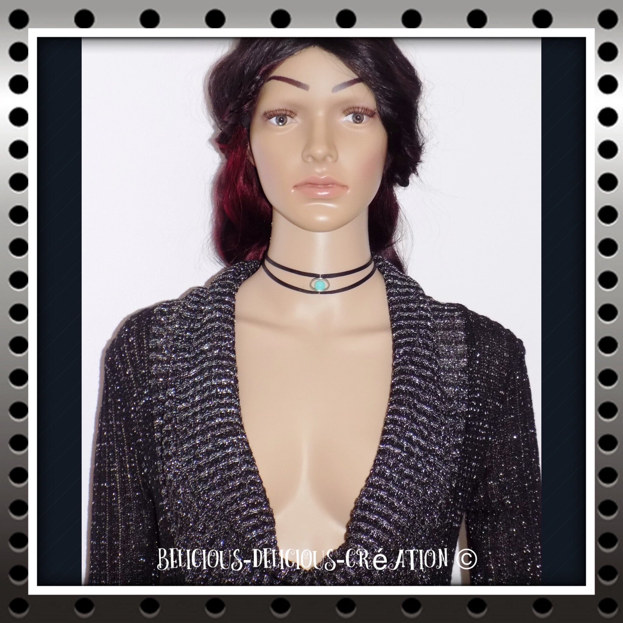 Original Collier style choker !! BLUE PEARL !! bleu et noir T: 35cm metal et palstique BELICIOUS-DELICIOUS-CREATION