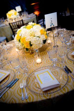 Yellow-White-Table-Linens-and-Centerpiece-300x451