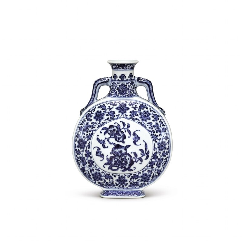 A Fine Blue and White 'Peach' Moonflask Seal Mark and Period of Qianlong