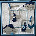 Carte de baptême garçon personnalisable avec polaroïdes et lapins