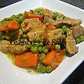 Sauté de veau petits pois carottes / guiso de carne de vaca con guisantes y zanaorias