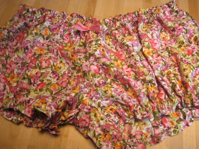 Culotte BIANCA en coton fleuri rose et orange - noeud vichy fushia (2)