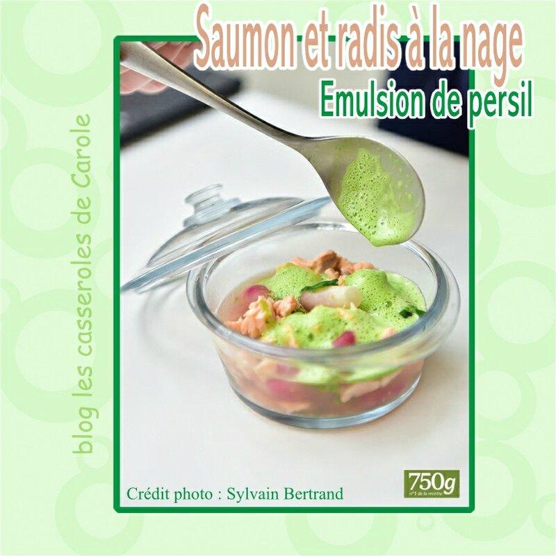 saumon et radis a la nage emulsion de persil (SCRAP)