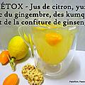 Détox jus de citron yuzu, gingembre et confiture de ginseng avec des kumquats