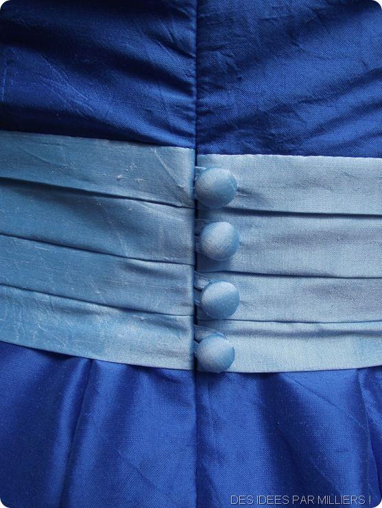 Robe bleue en soie sauvage - robe de fiancailles - Bleu ciel - Bleu roi - Soie - Petits boutons dans le dos