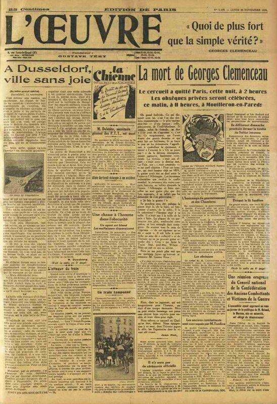 L oeuvre 25 nov 1929