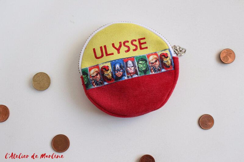 porte monnaie super héros rouge et jaune ulysse