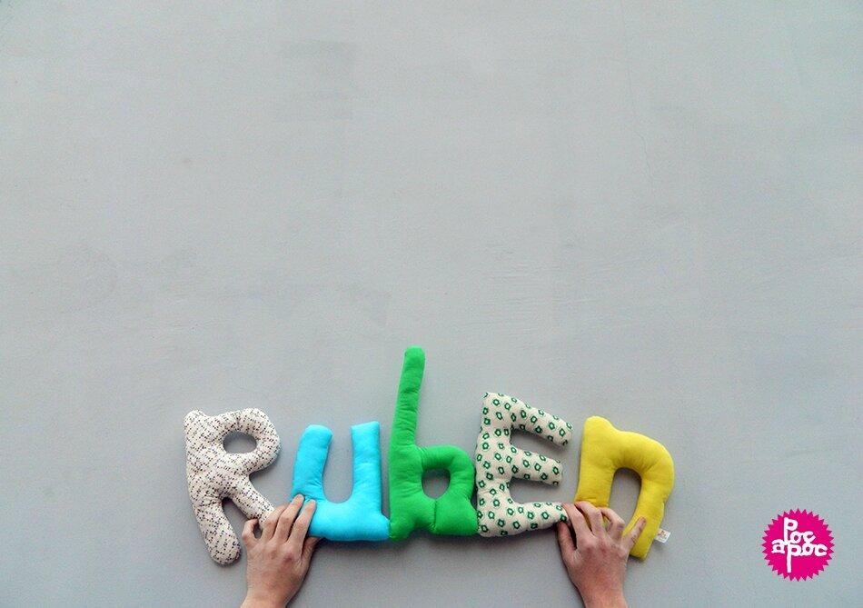 ruben,mot en tissu,mot decoratif,cadeau de naissance,decoration chambre d'enfant,cadeau personnalise,cadeau original,poc a poc blog