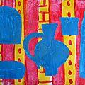 Nature morte 3 couleurs primaires Mélanie peinture gouache et découpage - collage